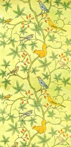 Wallpaper design by C F A Voysey, produced in 1930.