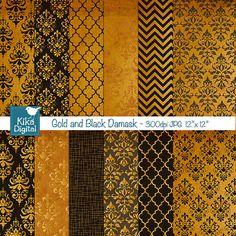 Gold and Black Damask Digital Papers - Scrapbooking Papers - card design, invitations, paper crafts, web design - INSTANT DOWNLOAD