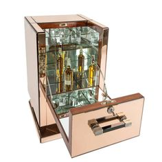 Art Deco Mirrored Bar Cabinet | From a unique collection of antique and modern dry bars at https://www.1stdibs.com/furniture/storage-case-pieces/dry-bars/