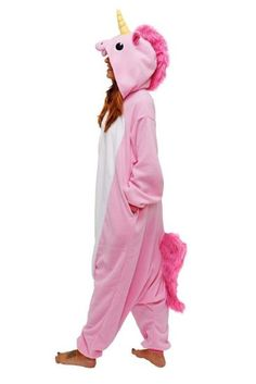 Adulte Unisexe Animal Costume Cosplay Combinaison Pyjama Outfit Nuit Fleece Halloween New Unicorn (S(148-160CM), Pink)