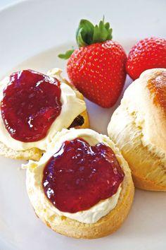 Fresh clotted cream, sharp strawberry jam and warm scones in Cornwall. Photo: Matt Buck