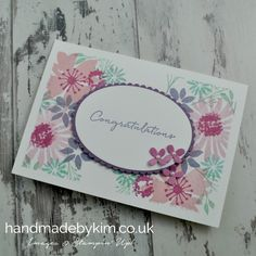 Congratulations on your wedding card featuring the Blooms and Wishes stamp set.Handmade by Stampin' Up! Demonstrator Kim Price from Somerset, UK