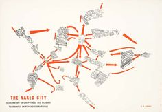 The situationists also used maps, making alterations to them in order to help instigate unpredictable trajectories. Debord himself produced a map in 1957 under the title The Naked City. The plan of Paris is cut up and divided into 19 sections that are randomly placed back together. The users of the map choose their own route through the city by using a series of arrows that link parts of the city together.