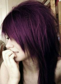 love this plum hair color and WANT this cut!