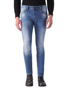 4d3d1633 Diesel Blue Sleenker 0670K Slim Skiny Jeans Skinny, Diesel Store, Mens  Tights, Bleached
