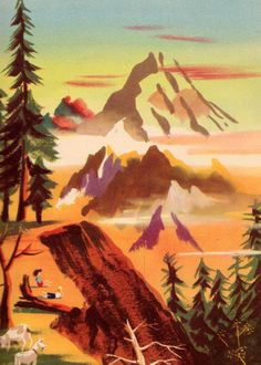 The Swiss Alps, illustration by Leonard Weisgard for a 1946 edition of Heidi, by Johanna Spyri