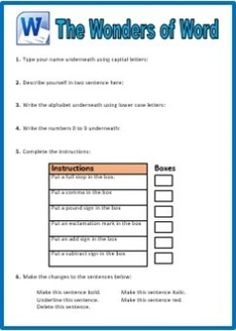 Printables Microsoft Word Worksheet microsoft word processing skills activities for younger years keyboard worksheets