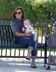 Jessica Alba was all smiles with baby Haven at an LA park.