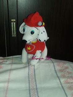 MarionArt: Marshall a Mancs őrjáratból amigurumi minta Paw Patrol, Crochet Hats, Snoopy, Amigurumi Minta, Baby Dolls, Recipe, Knit Cardigan, Free Pattern, Dots