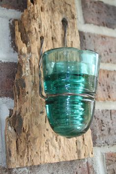 Set Of Two Barn Wood Rustic Reclaimed Candle Sconces With Blue Vintage Glass…
