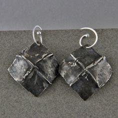Handmade Sterling Silver Forged Fold Formed Earrings by oscarcrow, $38.00