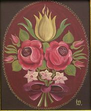 Early to mid 20th C Rosemaling Painting On Linen Signed W, Gallery Label on Back