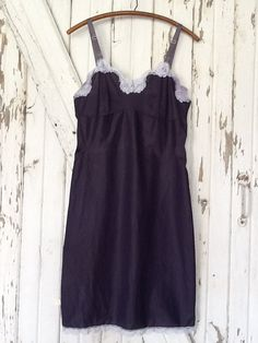 Hand Dyed Charcoal Gray Vintage Slip Dress... what a great layering piece or by itself! What a cute Etsy shop!
