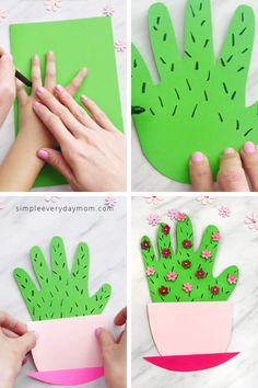 Mothers Day Crafts For Kids Discover Handprint Cactus Card Make this cute handprint cactus DIY Mothers Day card for a sweet memento for Mom or Grandma. Its easy for preschool kindergarten & elementary children. Easy Mother's Day Crafts, Mothers Day Crafts For Kids, Summer Crafts For Kids, Crafts For Kids To Make, Craft Activities For Kids, Simple Kids Crafts, Cute Kids Crafts, How To Make, Simple Art And Craft