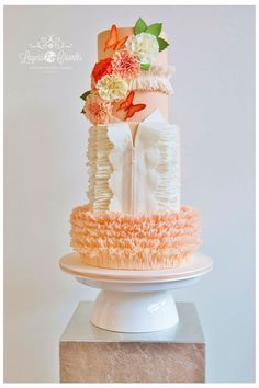 """Butterfly Blush"" Wedding Cake for Cake Central Magazine Vol.4 - Issue 2"