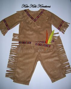 Toddler Boy's INDIAN COSTUME with Headband by kutekidskreations