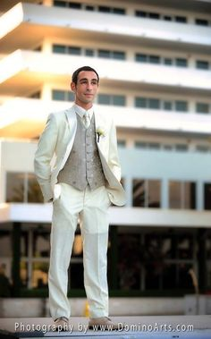 His suit is ivory and so his shoes are! Wedding Photography by www.DominoArts.com