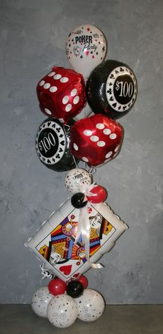 Themed casino party balloons foils - Party Box