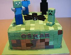 Cakes pictures on sports and hobbies Minecraft cake tiles characters