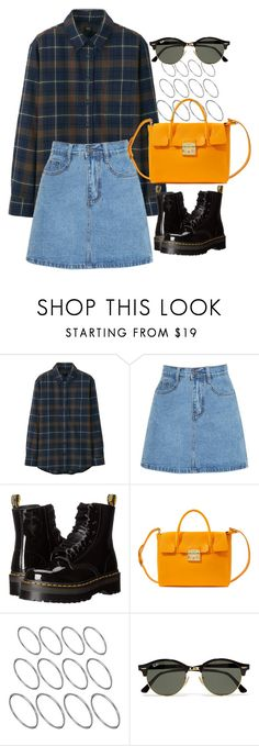 """""""Untitled #3698"""" by plainly-marie ❤ liked on Polyvore featuring Uniqlo, Dr. Martens, Furla, ASOS and Ray-Ban"""