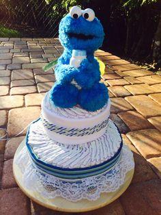 Another beautiful Cookie Monster Diaper Cake! Diaper Cakes, Cookie Monster, Etsy Seller, Unique, Creative, Cute, Beautiful, Kawaii, Nappy Cake