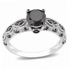 Miadora 10k White Gold 1 1/4ct TDW Black Diamond Ring | A round-cut black diamond set in 10-karat white gold with black rhodium plating and milligrain detailing