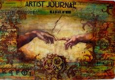 Art  Journal page, using stencils, embossing paste, Embossing powders,Acrylic paints,stamps,digital image from Altered Pages,Archival ink, gears and matte medium.