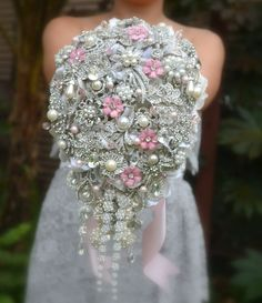 blush pink cascading brooch bouquet so wish I seen this 3 years ago when I got married :( maybe a house decoration?