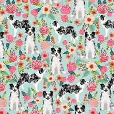 blue merle border collies cute florals design best border collie fabrics cute border collies blue merle fabric by petfriendly on Spoonflower - custom fabric