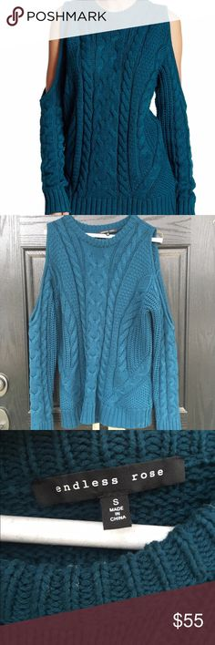 Blue cold shoulder sweater NWOT Brand new never worn knit sweater with exposed shoulders. I just adore this sweater! It it a neutral and looks good with everything!! Thanks for looking.💕 Endless Rose Sweaters V-Necks