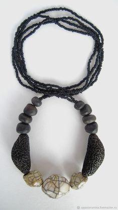 """Бусы """"Черное и Белое"""" керамика, раку – купить в интернет-магазине на Ярмарке Мастеров с доставкой - E9DHFRU"""