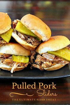 Easy crockpot slow cooker party sliders. Doused with Dr. Pepper & BBQ Sauce, a popular sandwich for pork slider recipes for pork roast.  via /lannisam/