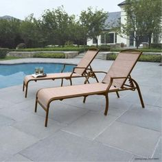 Set of 2 Chaise Lounges Tan Color Chair Patio Pool Furniture Outdoor Backyard #Mainstays