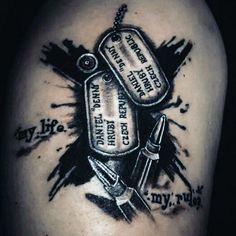 Dog tag ideas abstract dog tag tattoo ideas for men military dog tag tattoo designs . Patriotische Tattoos, Army Tattoos, Military Tattoos, Sleeve Tattoos, Cool Tattoos, Warrior Tattoos, Tattoo Ink, Tatoos, Hals Tattoo Mann