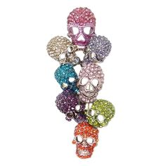 EVER FAITH® Crystal Halloween Skull Bone Cluster Brooch ** To view further for this item, visit the image link. (This is an affiliate link) #BroochesandPins