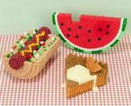 Our hot dog with everything, watermelon, and slice of pie a la mode all made from Perler Beads.  #Perler #Kidscrafts #summer