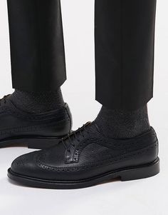 5eb6c24afef Selected Homme Benny Leather Brogue Shoes at asos.com
