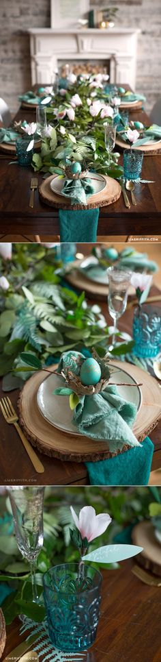 ferien tisch Ideas For Wedding Summer Green Table Settings Breakfast Table Setting, Setting Table, Easter Table Settings, Turquoise Table, Green Table, Beautiful Table Settings, Deco Floral, Rustic Table, Deco Table