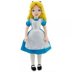 Disney Store Exclusive Allice in Wonderland Plush - 20   H *Satin dress with puffed sleeves, lace trimmed apron and petticoat *Embroidered detailing *Polyester *All in a world of her own, this softhearted Alice in Wonderland Plush Doll makes curious dreams come alive! This deluxe Disney stuffed doll is fully costumed in intricate detail with delicate embroidered features and rich fabric textures.