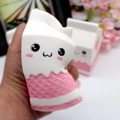 Cute Milk Box Squishy Soft Slow Rising Cartoon Bread Reliever Stress Kids Toy