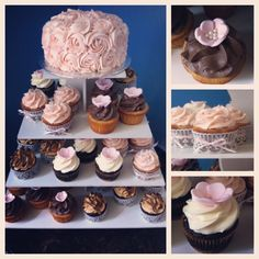 Shabby chic burlap and lace wedding cupcake tower. Cupcakes by M.E. www.cupcakesbyme.com