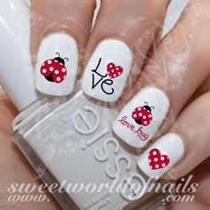Valentine's Day Nail Art Ladybug Ladybird Love bug Red Hearts Nail Water Decals