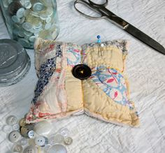 Pincushion+Made+from+Upcycled+Vintage+Shabby+by+littlebirdlanellc,+$8.50