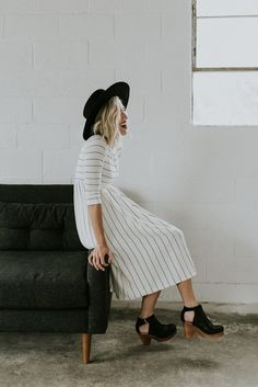 stripe dress, black hat, cut out heels