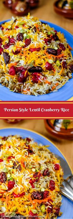 Lentil Cranberry Rice: A Persian style aromatic dish that is a bit tangy, subtly sweet and savory, packed with plant protein, fiber, antioxidants and healthy fats. It is vegan, gluten free and so easy to make. #lentilrice #cranberry #saffron #Persianrecipe #vegan #vegetarian #glutenfree via @TDCrescent