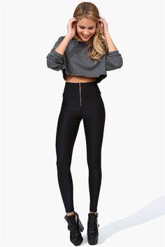 Nylon High Waist Legging - Black