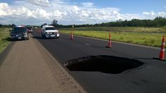 08/27/2016 - Large sinkhole appears on US 287 in Hall County