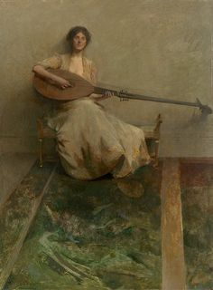 Thomas Dewing: girl with lute 1905