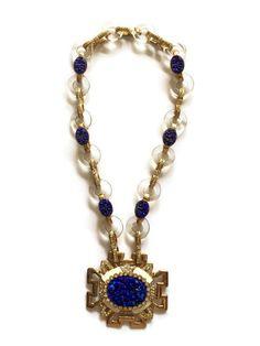 Vintage Kenneth Jay Lane Carved Lapis Lazuli Rock Crystal Pendant Necklace