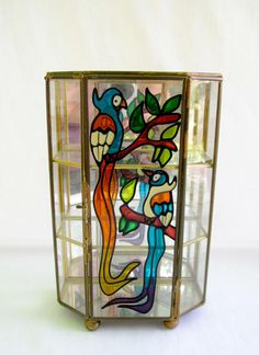 Display Case Vintage Curio Cabinet Stained Glass Parrot Decor